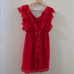 Forever 21 ruffled chiffon red dress